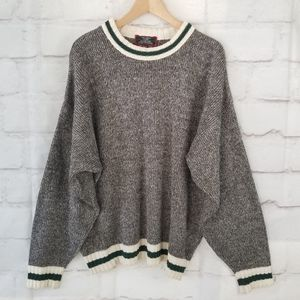 Vintage XL Black & White Space-Dyed Cabin Sweater